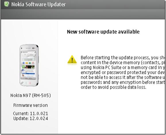 Nokia N97 gets new firmware update – v12 0 024