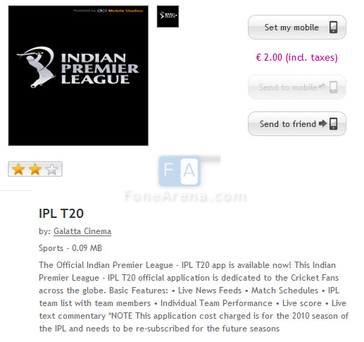 Download IPL T20 App from Nokia Ovi Store